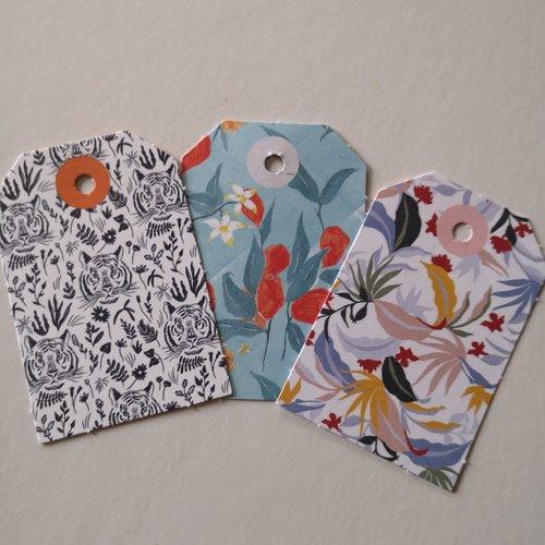 Étiquettes x3 motifs tête de tigre/fleurs