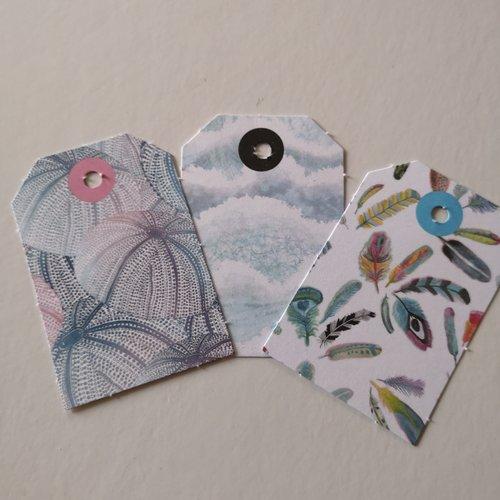Étiquettes x3 motifs plumes /nature