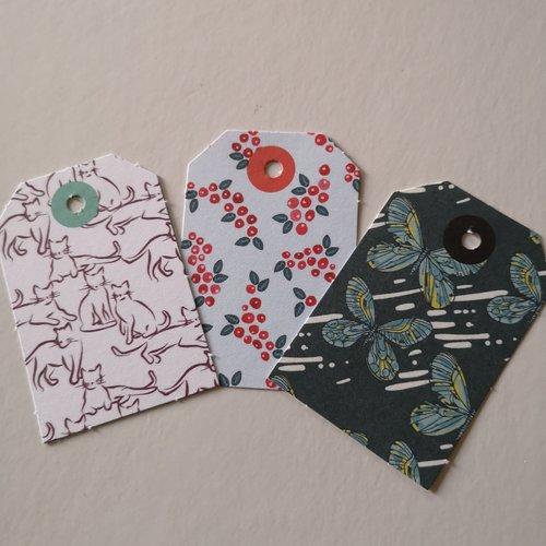 Étiquettes x3 motifs papillons /fleurs /chats
