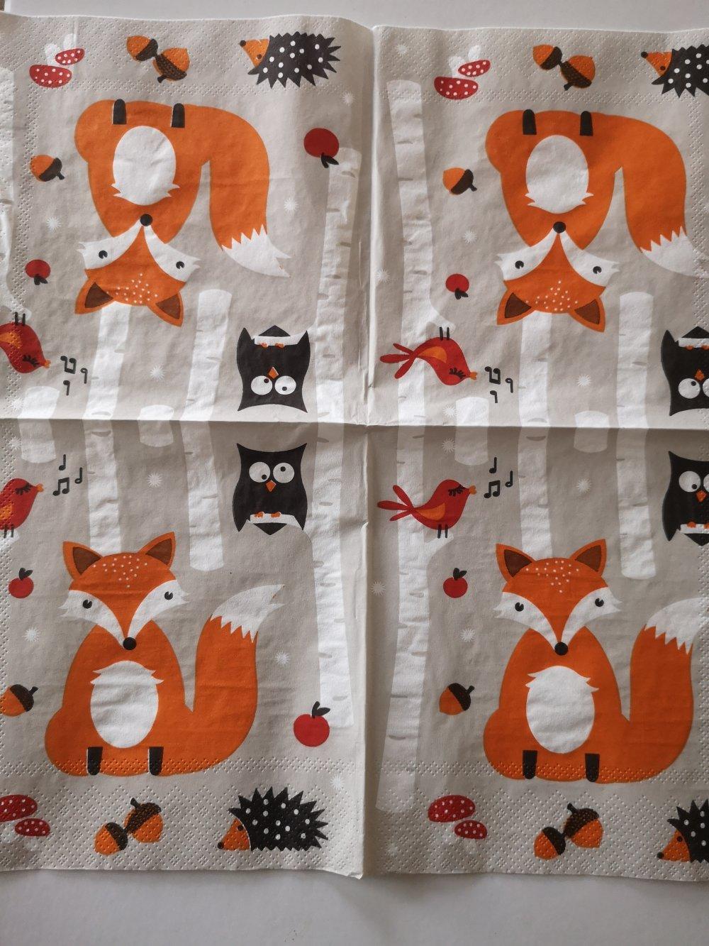 """Serviettes en papier thème animaux """"les animaux de la forêt"""""""