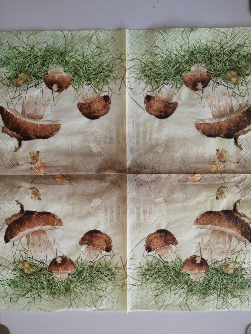"""Serviettes en papier thème nature """"les champignons"""""""