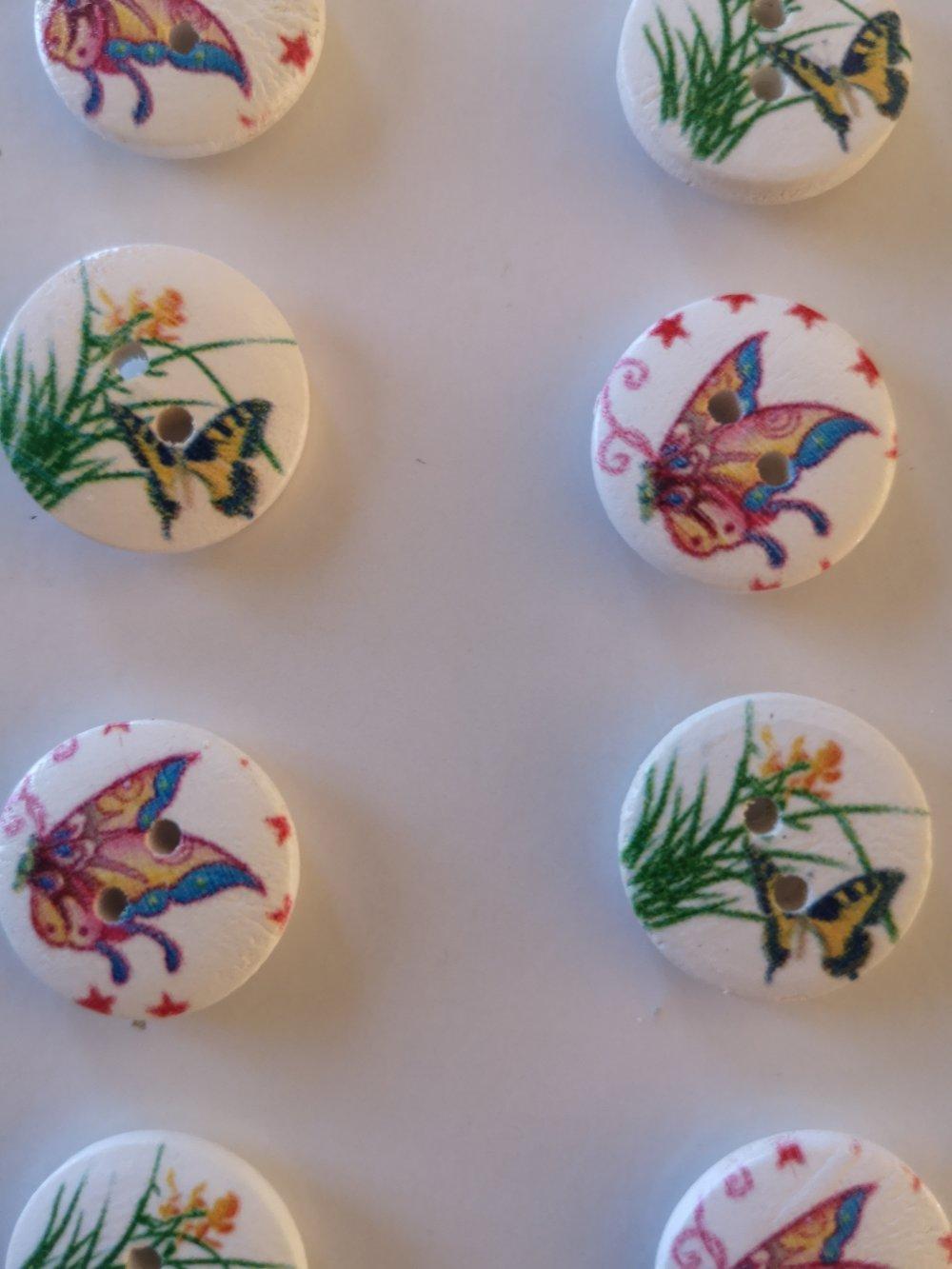 """Boutons en bois """"papillons"""" X8"""