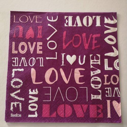 """Serviettes en papier motifs """"love"""""""