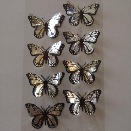 Embellissements papillons adhésifs x8
