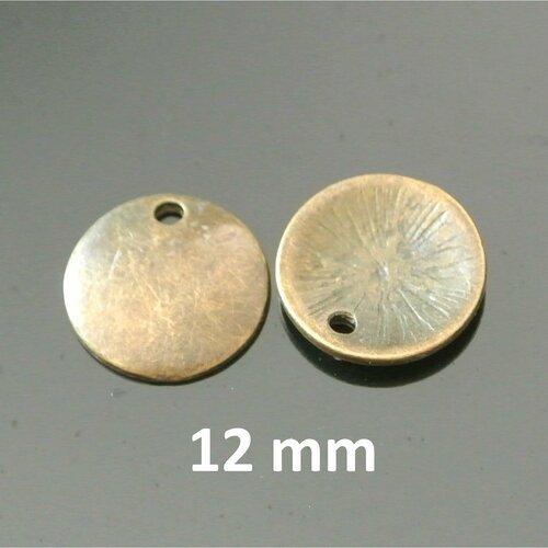 Lot de 6 sequins ronds 12 mm bombés et lisses métal couleur bronze