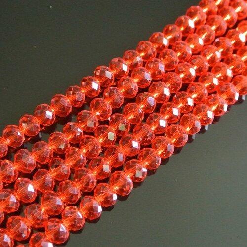 20 perles rondelles, 8 x 6 mm, verre à facettes rouge translucide, trou 1 mm environ