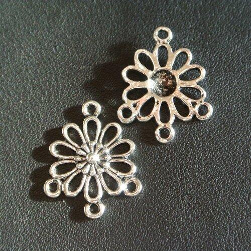 10 connecteurs pour boucles d'oreilles, forme fleur marguerite, 3 trous, métal couleur argent vieilli