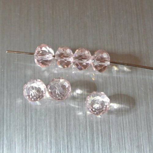 10 perles rondelles, 8 x 6 mm, verre à facettes translucide rosy, trou : 1 mm environ