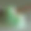 2 perles européennes en verre nacré givré satiné vert pâle, 15 x 11 mm, trou5 mm pour cordon 4,5 mm