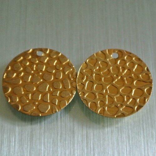 Lot de 4 sequins breloques dorées, forme plate et ronde 18 mm à empreinte irrégulière