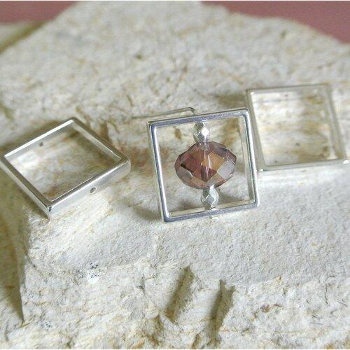 Lot de 4 perles cadres de forme carrée en métal couleur argent vieilli, 20 x 20 mm, largeur intérieure du cadre 15 mm