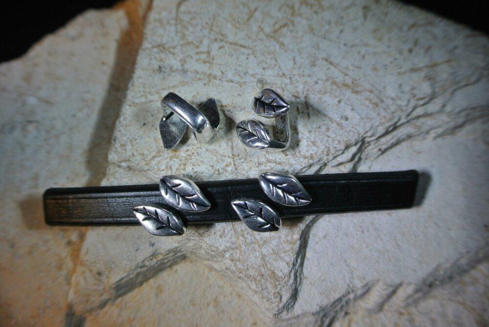 Lot de 5 perles passants forme feuilles pour cordon cuir 10 x 5-6 mm