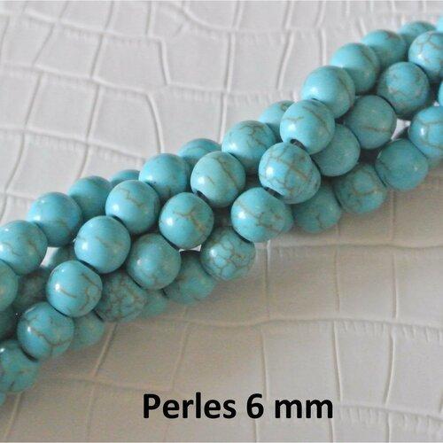 Lot de 20 perles rondes et lisses 6 mm imitation turquoise, trou 1 mm environ