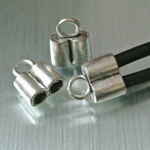 Lot de 4 embouts double tubes 17 x 13 x 7 mm pour cordons 4 mm, anneau d'accroche : 3 mm, métal argenté vieilli