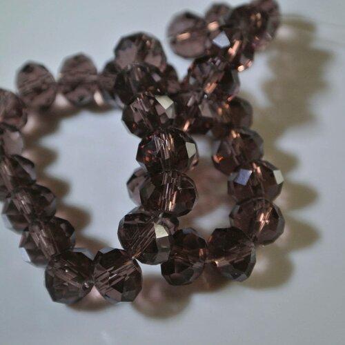 Lot de 20 perles rondelles, 8 x 6 mm, verre à facettes violet, trou : 1 mm environ
