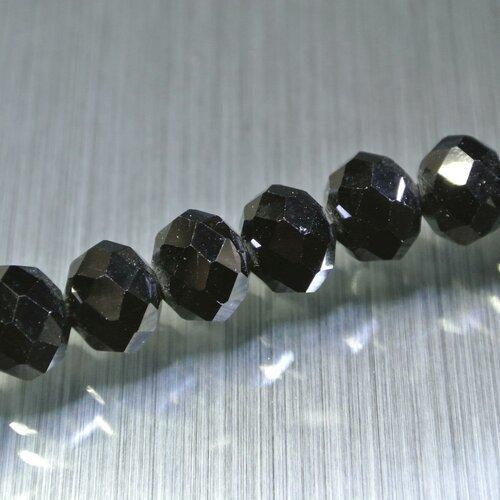 Lot de 10 perles, 10 x 7,4 mm, verre noir à facettes, forme rondelle, trou : 1 mm environ