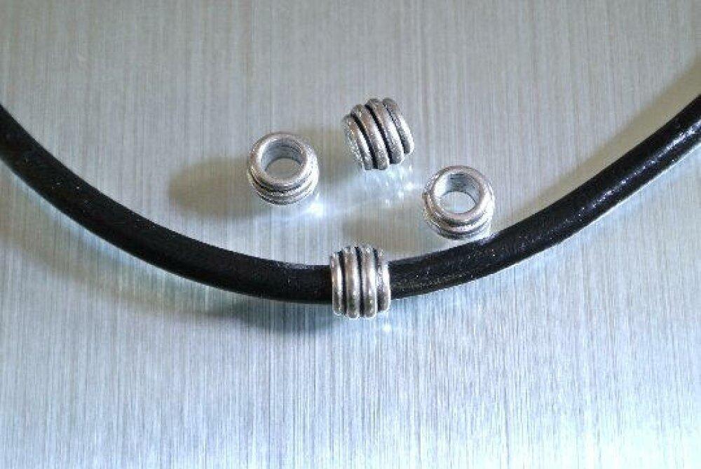 10 perles passantes tube à bourrelets intercalaires, 6 x 8 mm, trou 4,3 mm