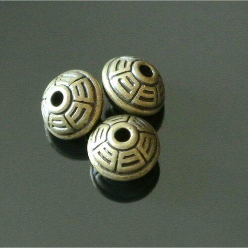 Lot de 5 perles intercalaires métal bronze forme toupie et rainures, 10 x 8 mm, trou 2 mm environ