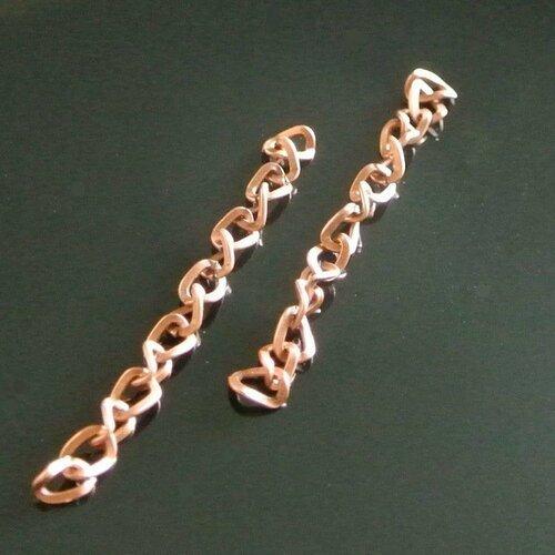 Lot de 10 chaînettes d'extension cuivrées 5 cm, maillon ouvert torsadé 5 x 4 mm, maillon taille intérieure 3 x 2 mm