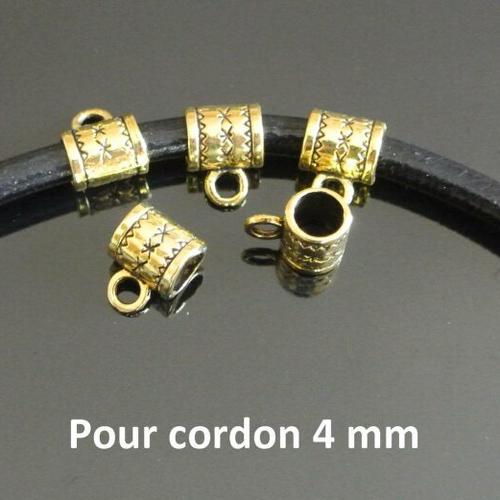 Lot de 10 bélières passantes métal doré pour cordon 4 mm, forme tube avec fins motifs gravés, trou