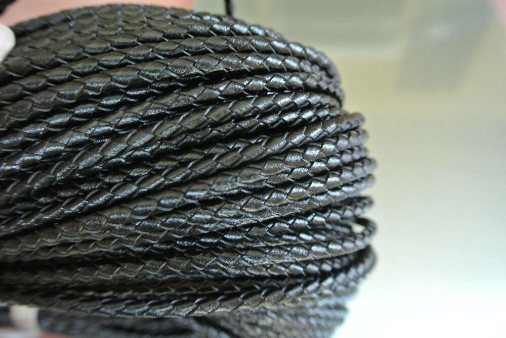 50 cm de cordon cuir noir 4 mm tressé 4 brins