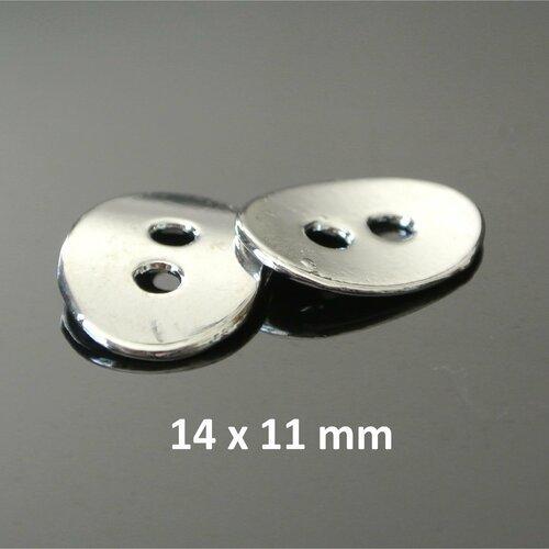 2 boutons métal argent platine, ovales et courbes, 14 x 11 mm, 2 trous de 2 mm environ
