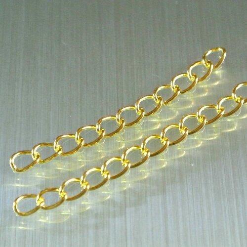20 chaînettes d'extension 5 cm, maillon 6 x 4 mm environ, couleur dorée, longueur 5 cm x largeur : 4 mm