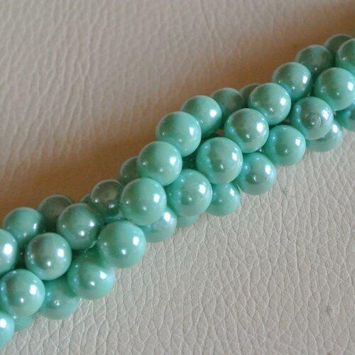 20 perles rondes et lisses 8 mm, en verre bleu-vert turquoise clair, nacrées et  brillantes, trou: 1,3 mm environ