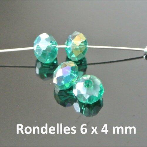 10 petites perles rondelles, 6 x 4 mm, en verre à facettes vert malachite irisé