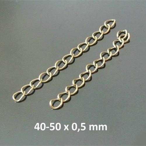 20 chaînettes d'extension y métal bronze entre 40 et 50 x 0,5 mm