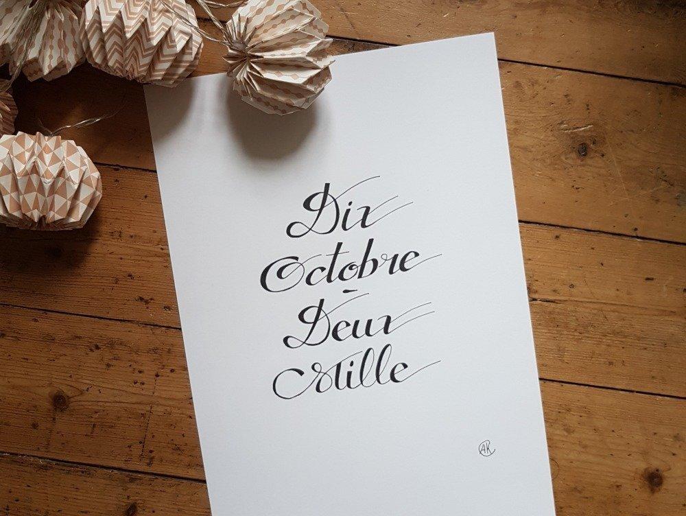 une date un jour/date calligraphie