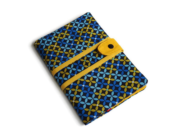 Protège Carnet de Santé - 100% Coton - Imprimé jaune et bleu