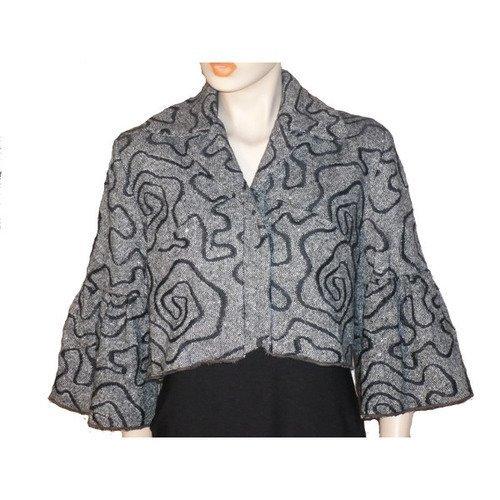 Veste courte en tweed gris et noir manches 34, bolero vc0216