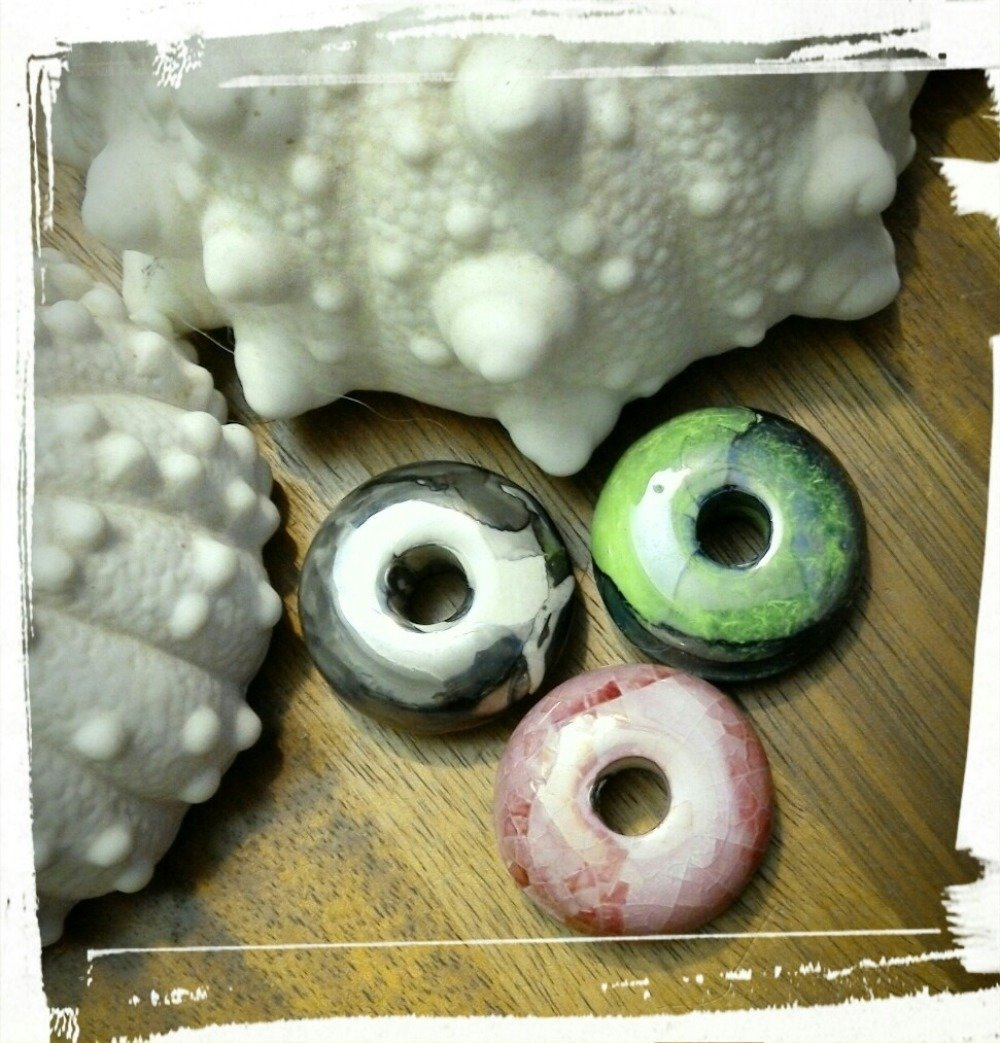 Lot mix perles céramiques Grecque émaillée