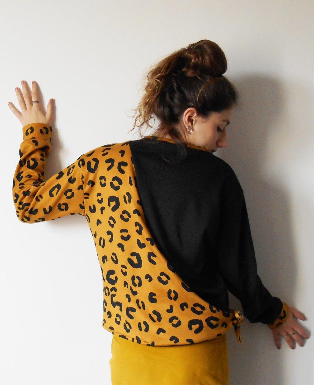 """Sweat noir et imprimé léopard pour femme, noué à la taille: """"Jungle"""""""