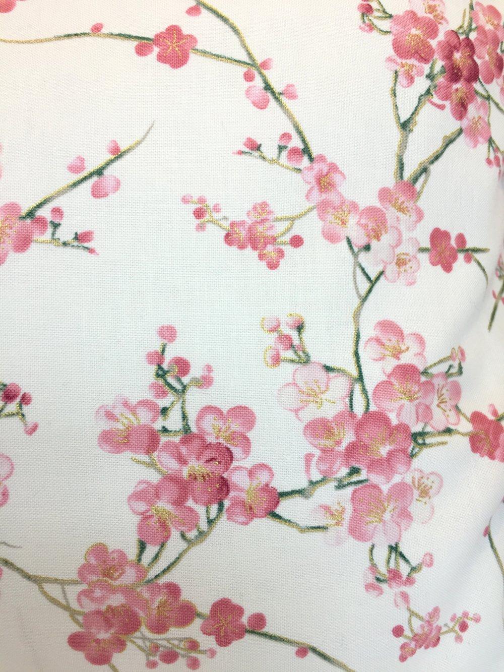 Housse de coussin, tissus japonais, jardins japonais, fleurs de cerisiers, Sakura, rose et écru, rectangulaire 30 x 50 cm