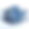 Masque réutilisable en tissu de nani iro, satin de modèle afnor , bleu pétrole et blanc, élastiques ajustables