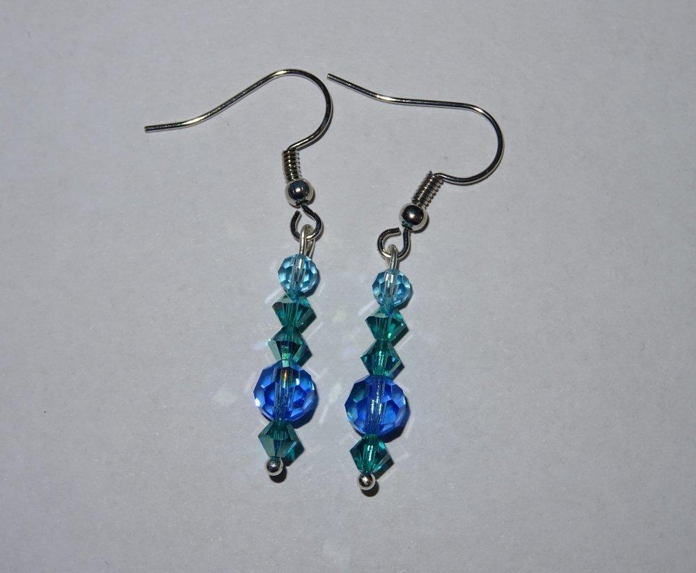 Boucles d'oreilles strass Swarovski tons bleus