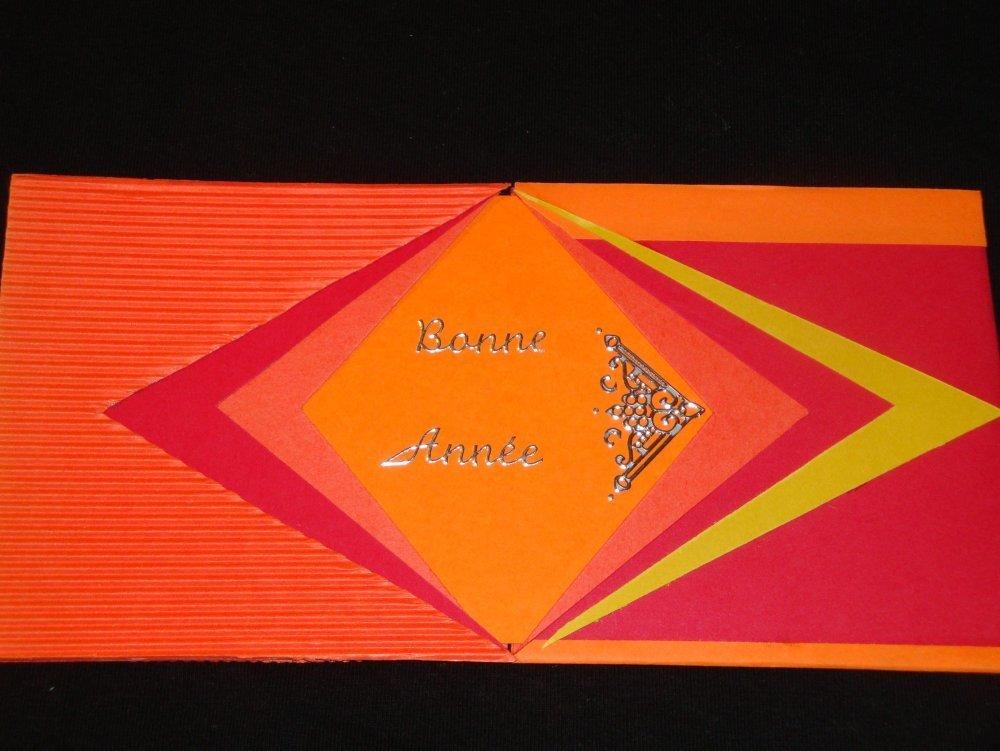 """Carte """"Bonne année"""" tons rouge et orange"""