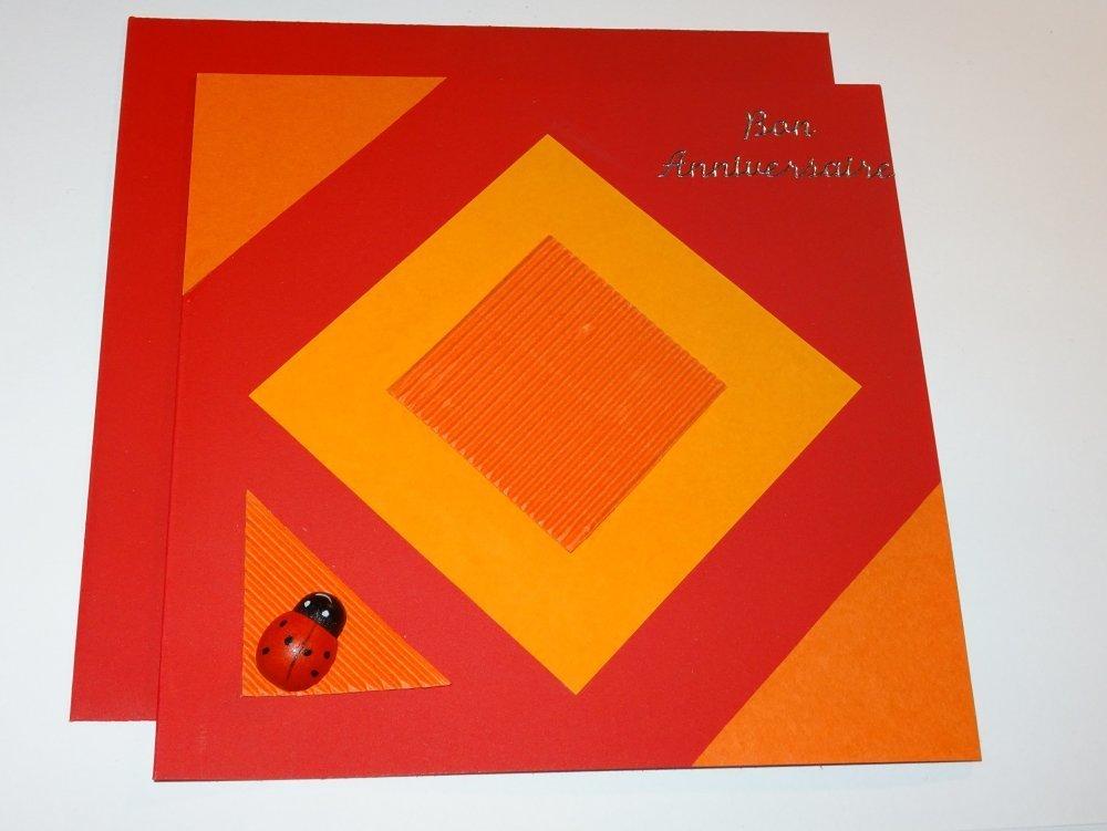 """Carte double carrée rouge et orange """"Bon anniversaire"""""""