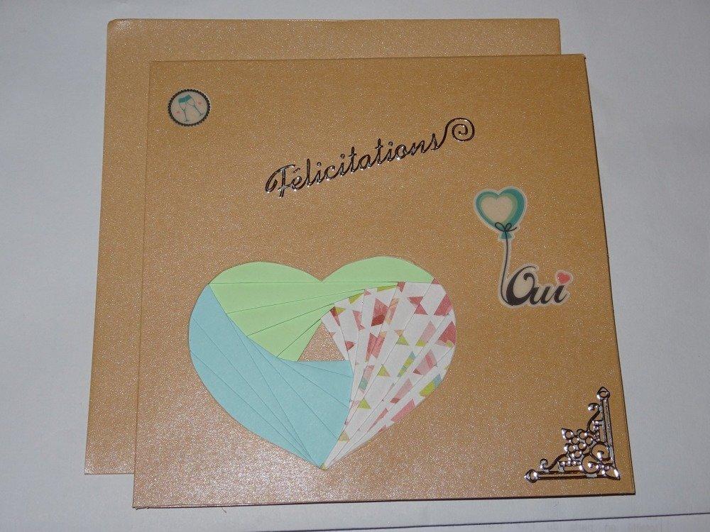 """Carte double """"félicitations"""" avec cœur pliages iris folding"""