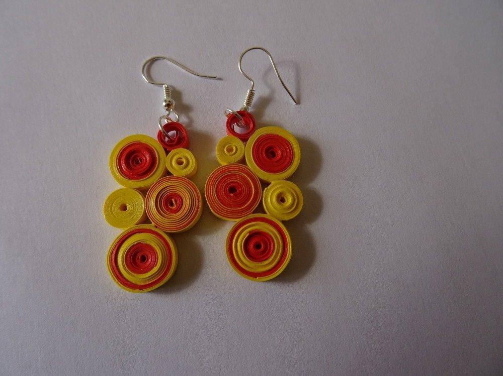 Boucles d'oreilles original papier quilling tons jaune et orange