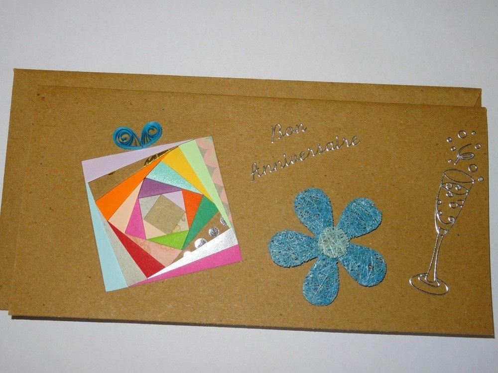 Carte rectangle longue double couleur kraft bon anniversaire avec cadeau multicolore en relief iris folding et nœud en quilling