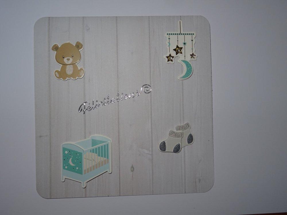 """Carte carrée double """"félicitations"""" de naissance"""