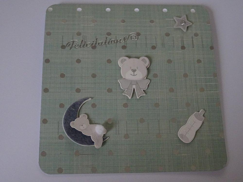 """Carte carrée double tons blancs et argent """"félicitations"""" de naissance"""