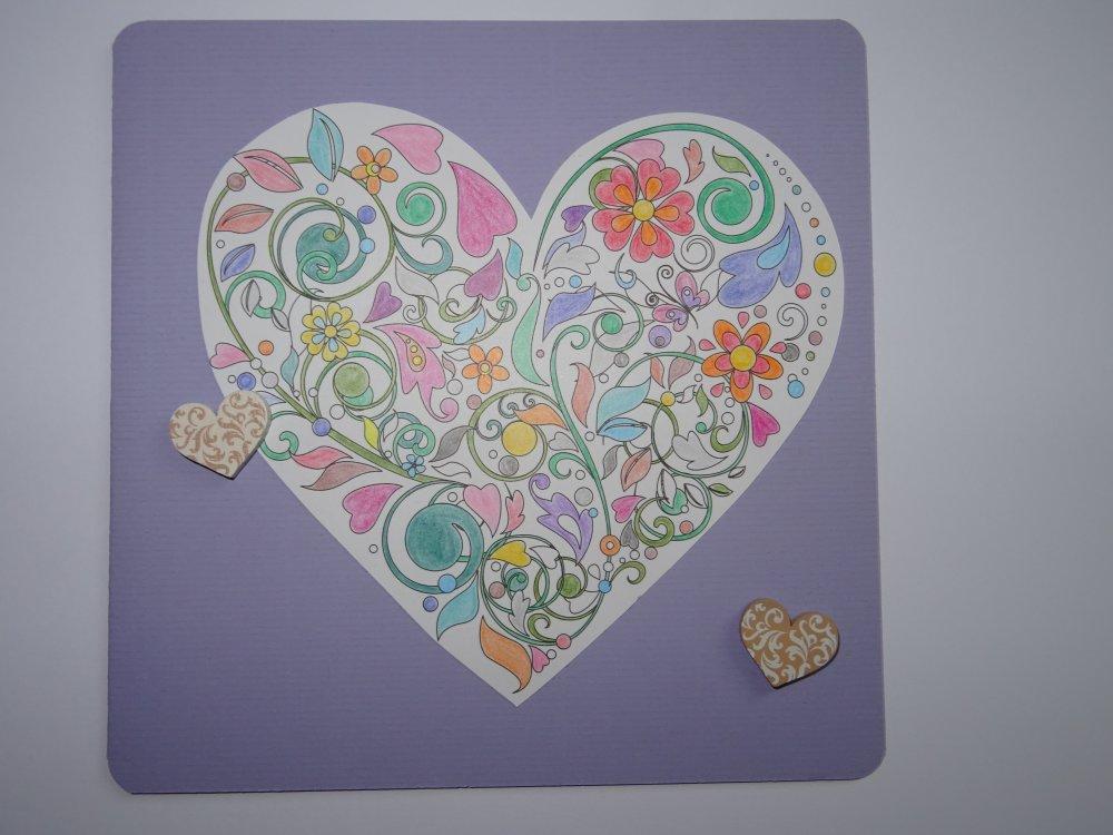 Carte double originale motif mandala cœur