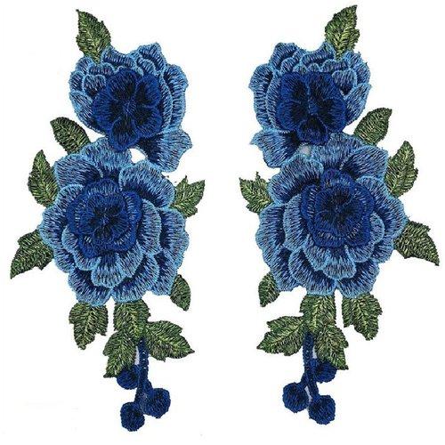 Lot de 2 appliques brodées symétriques / bleu ** 13 x 23 cm ** col guipure - acd47