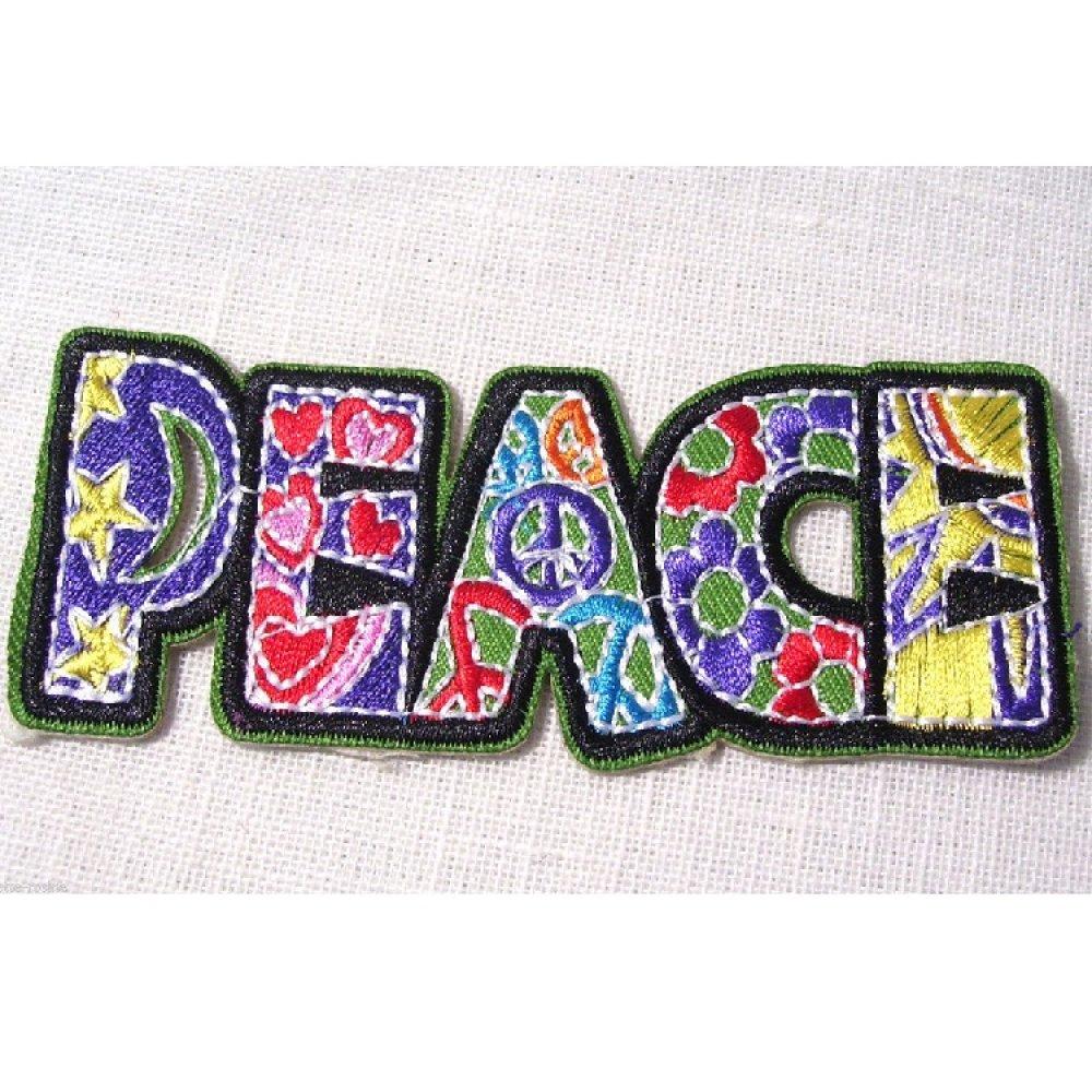 PATCH ÉCUSSON THERMOCOLLANT ** 10 x 3 cm ** MOT PEACE PATCHWORK multicolore - Applique à repasser