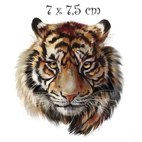 Patch applique, dessin transfert thermocollant, tête de lion, 7 x 7,5 cm, sérigraphie à repasser - t055