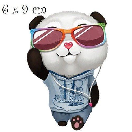 Patch Applique Dessin Transfert Ourson Panda Lunette De Soleil 6 X 9 Cm Sérigraphie à Repasser T060